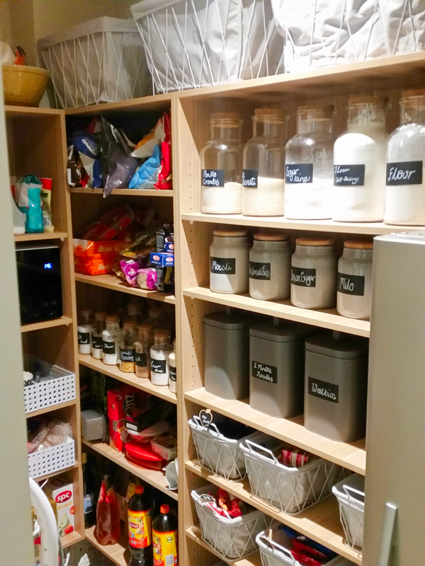 Organise pantry, shelves, jars and boxes