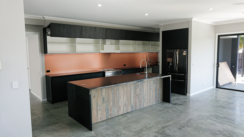 Bi-fold flap doors, Black Kitchen, Industrial style kitchen