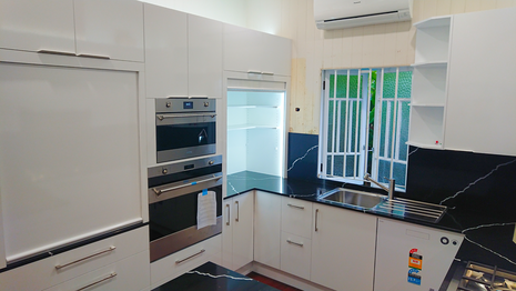 Modern kitchen, White kitchen, Black stone kitchen, Automatic roller door, Led lighting pantry
